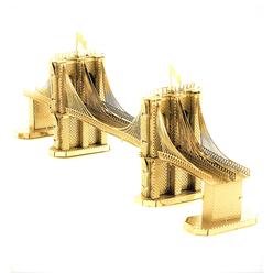3D Lazer Kesim Metal Model Brooklyn Köprüsü Gold - Thumbnail