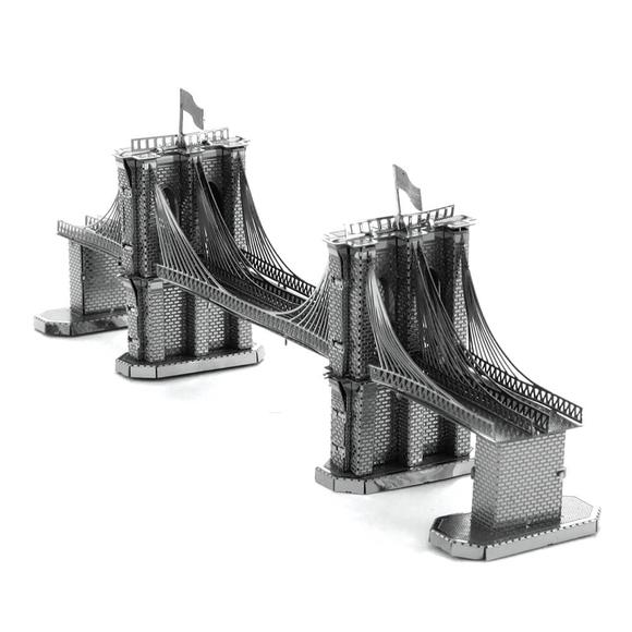 3D Lazer Kesim Metal Model Brooklyn Köprüsü Silver