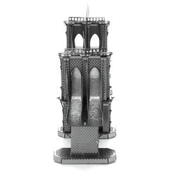 3D Lazer Kesim Metal Model Brooklyn Köprüsü Silver - Thumbnail