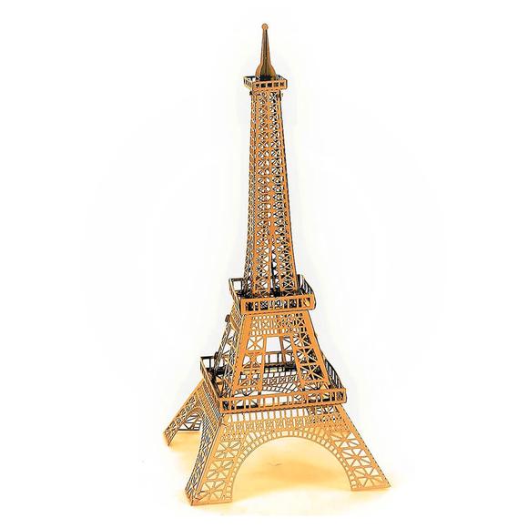 3D Lazer Kesim Metal Model Eyfel Kulesi Gold