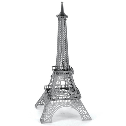 3D Lazer Kesim Metal Model Eyfel Kulesi Silver - Thumbnail