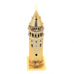 3D Lazer Kesim Metal Model Galata Kulesi Gold - Thumbnail
