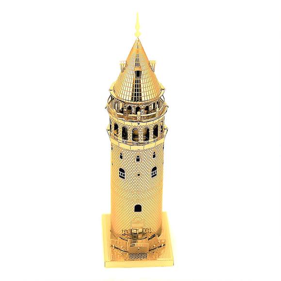 3D Lazer Kesim Metal Model Galata Kulesi Gold