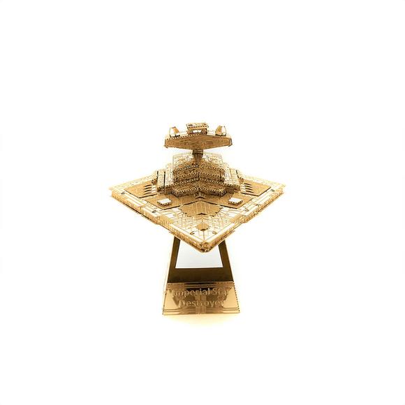 3D Lazer Kesim Metal Model Imperial Star Destroyer Gold