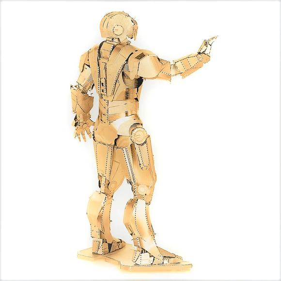 3D Lazer Kesim Metal Model Ironman Gold