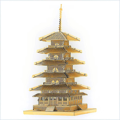 3D Lazer Kesim Metal Model Japon Tapınak Gojunoto Gold - Thumbnail