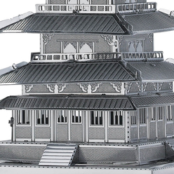 3D Lazer Kesim Metal Model Japon Tapınak Gojunoto Silver - Thumbnail