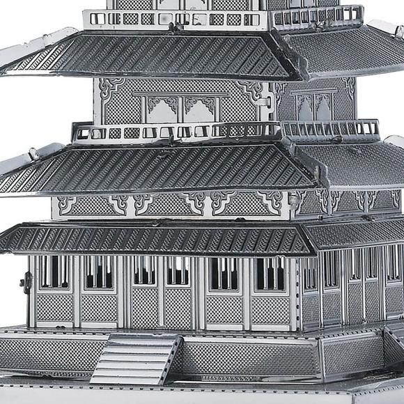 3D Lazer Kesim Metal Model Japon Tapınak Gojunoto Silver