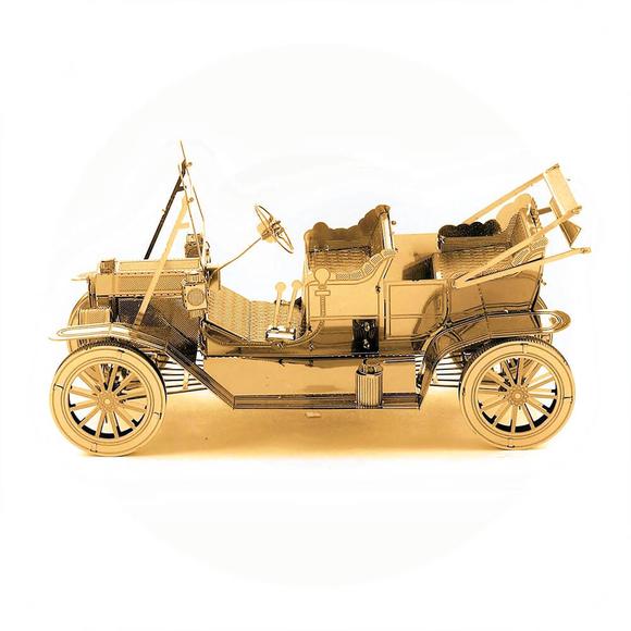 3D Lazer Kesim Metal Model Klasik Araba Gold