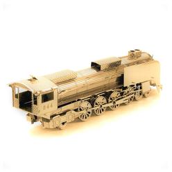3D Lazer Kesim Metal Model Lokomotif Gold - Thumbnail