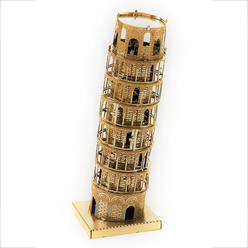 3D Lazer Kesim Metal Model Pisa Kulesi Gold - Thumbnail