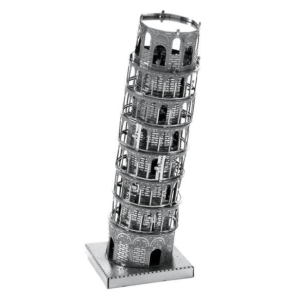3D Lazer Kesim Metal Model Pisa Kulesi Silver
