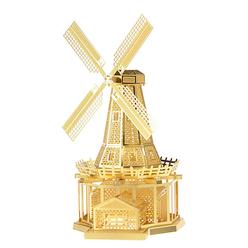 3D Lazer Kesim Metal Model Yel Değirmeni Gold - Thumbnail