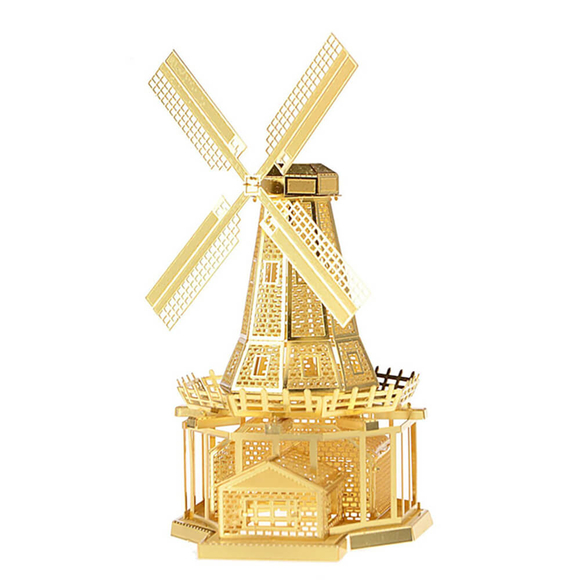 3D Lazer Kesim Metal Model Yel Değirmeni Gold