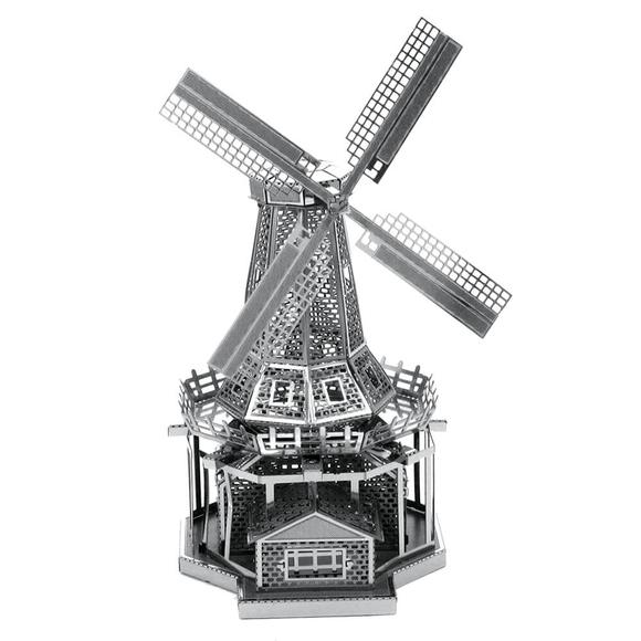 3D Lazer Kesim Metal Model Yel Değirmeni Silver