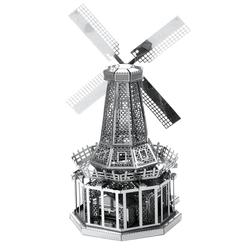3D Lazer Kesim Metal Model Yel Değirmeni Silver - Thumbnail