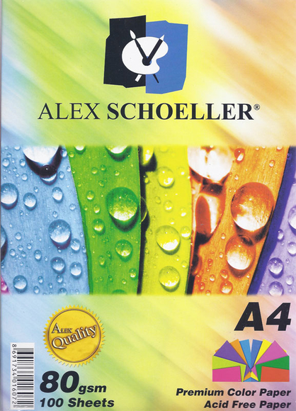 Alex Schoeller Renkli Çizgisiz Kağıt 10 Renk 100'lü Paket