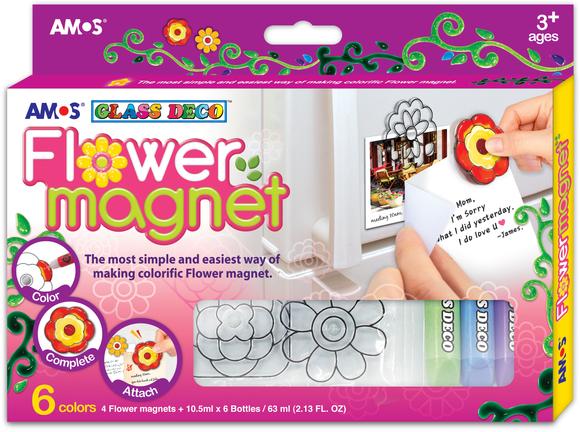 Amos Cam Boyası Çicek Magnet Seti 6 Renk + 4 Magnet FM10P6-D1