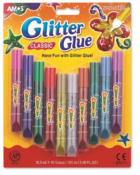 Amos Glitter Glue Classic Simli Yapıştırıcı 10'lu GCL10B10