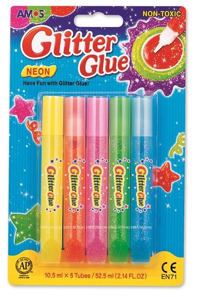 Amos Glitter Glue Neon Simli Yapıştırıcı 10,5 ml 5'li GNE10B5