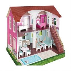 Arnas Toys 5067 3D Karton Maket Mobilyalı Merdivenli Oyun Evi - Thumbnail