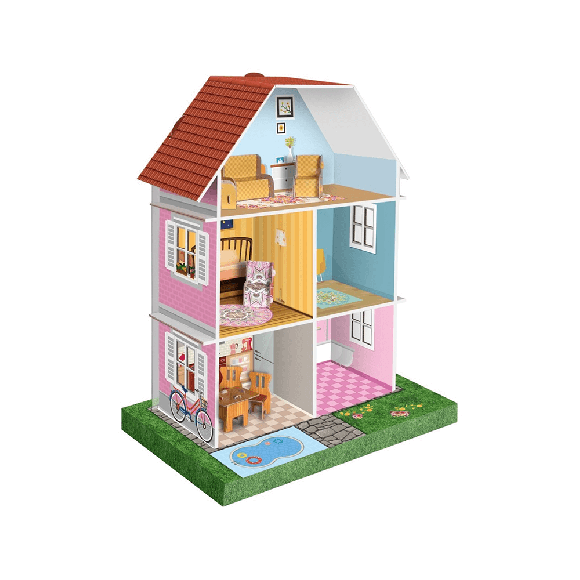 Arnas Toys 5081 3D Karton Maket Mobilyalı Bebek Oyun Evi