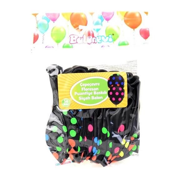Balonevi Çepeçevre Floresan Puantiye Baskılı Siyah Balon 14'lü