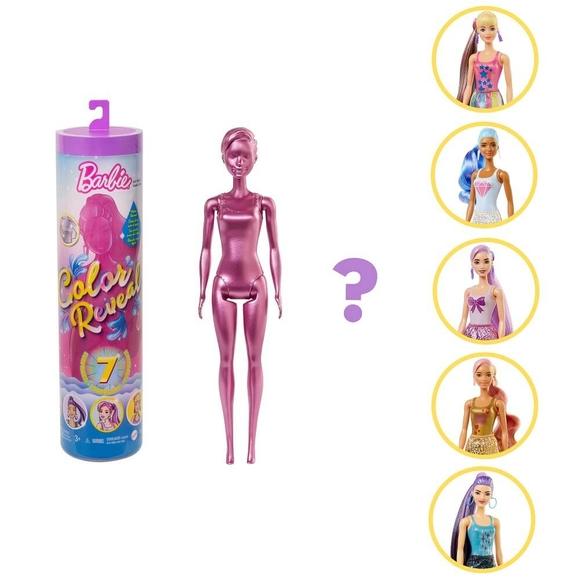 Barbie Color Reveal Renk Değiştiren Sürpriz Barbie Işıltılı Bebekler Serisi 7 Sürpriz İçerir GWC55