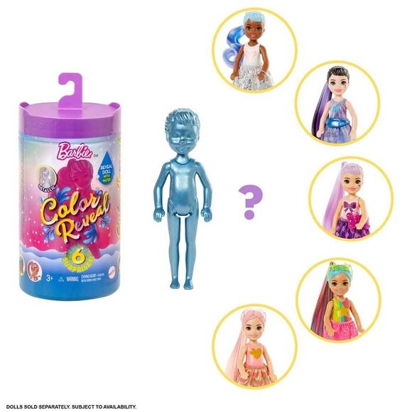 Barbie Color Reveal Renk Değiştiren Sürpriz Chelsea Bebek, 6 sürprizle gelen parıltılı set GWC59