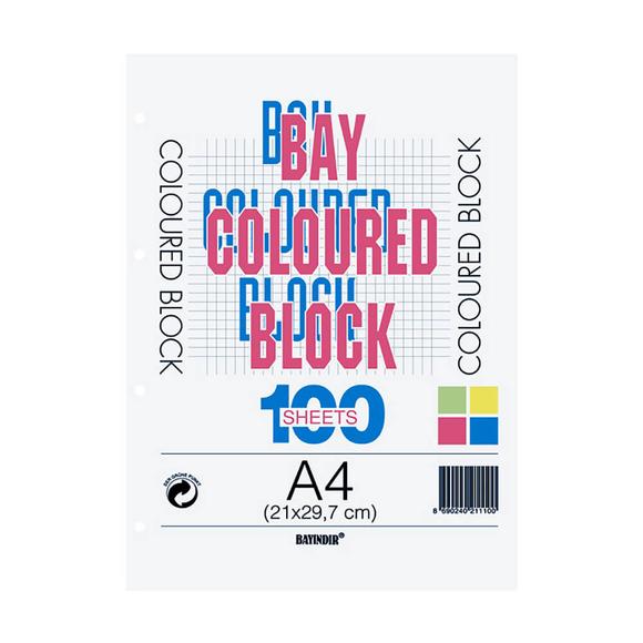 Bayındır Çizgili Klasör Yedeği A4 100 Yaprak 4 Renk
