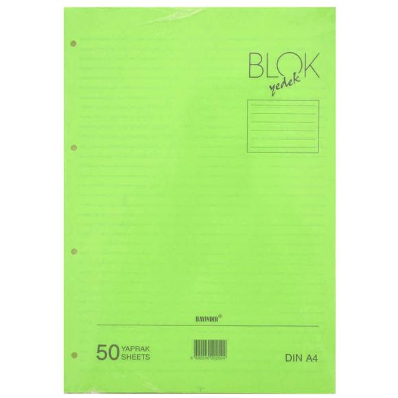 Bayındır Çizgili Klasör Yedeği A4 50 Yaprak Yeşil BBN0212
