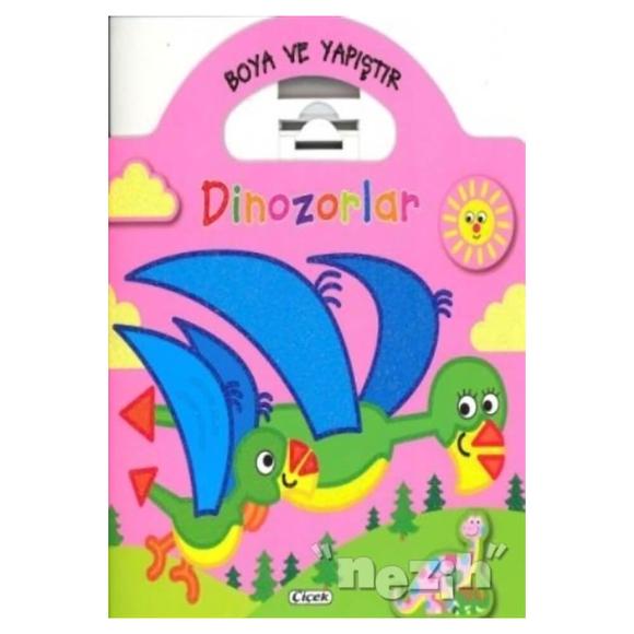 Boyama ve Yapıştır Dinozorlar (Pembe)
