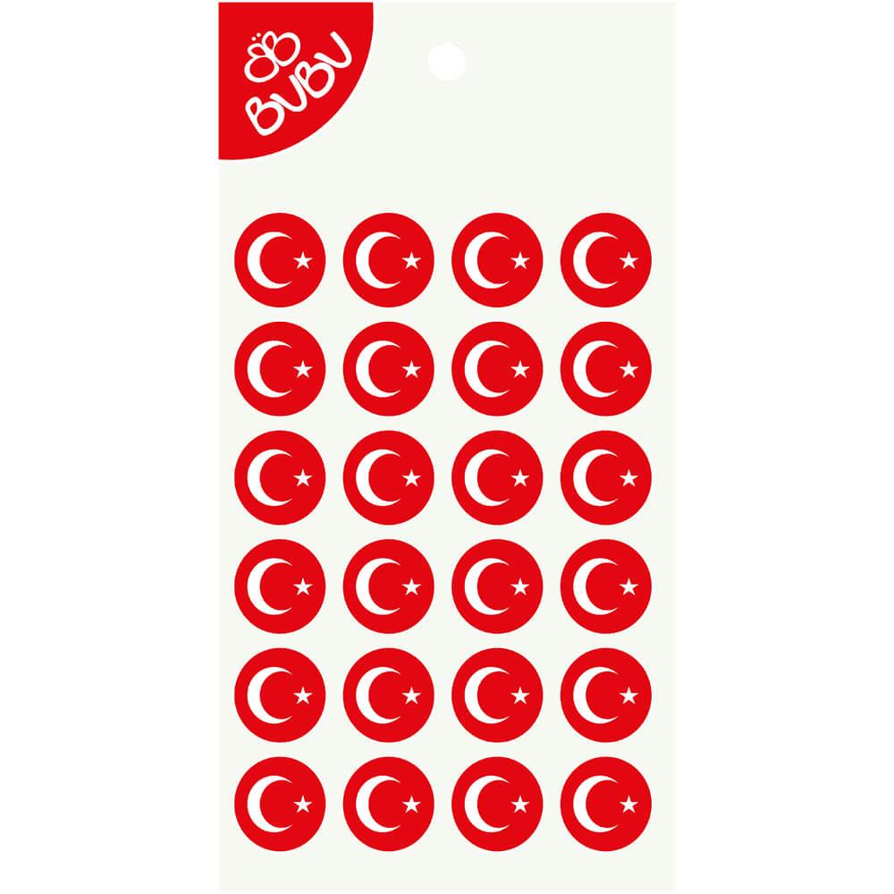 Bu Bu Sticker Turk Bayragi Yuvarlak Ls0038 Nezih