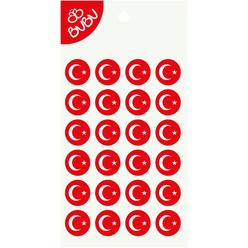 Bu-Bu Sticker Türk Bayrağı Yuvarlak LS0038 - Thumbnail