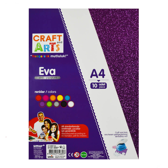 Craft And Arts Yapışkanlı Simli Eva 10 Renk U1140SY