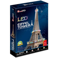 Cubic Fun 3D Puzzle Eiffel Kulesi Fransa Led Işıklı L091H - Thumbnail