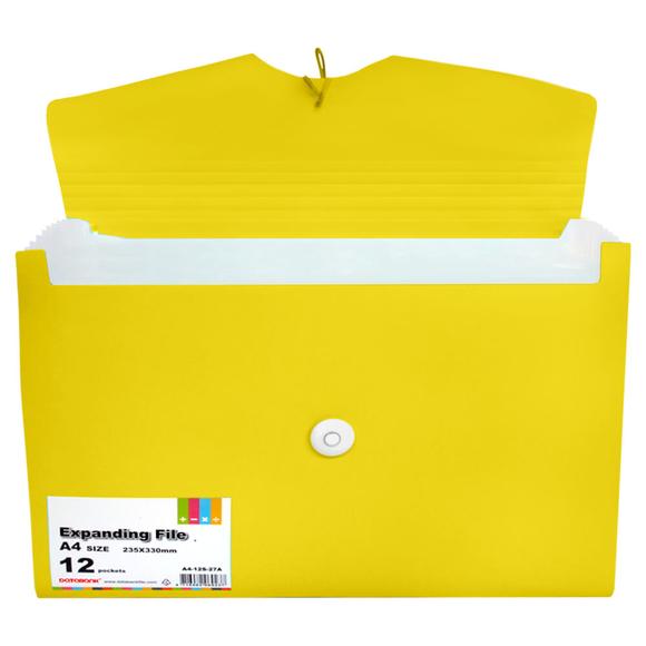Databank Körüklü Dosya 12 Bölmeli Sarı A4-12S-27A