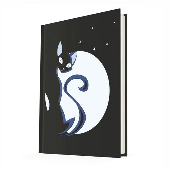 Deffter Cat Moon/Sert Kapak Çizgili 14x20 Cm