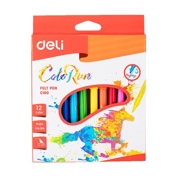 Deli Color Run Keçeli Kalem 12 Renk C10000