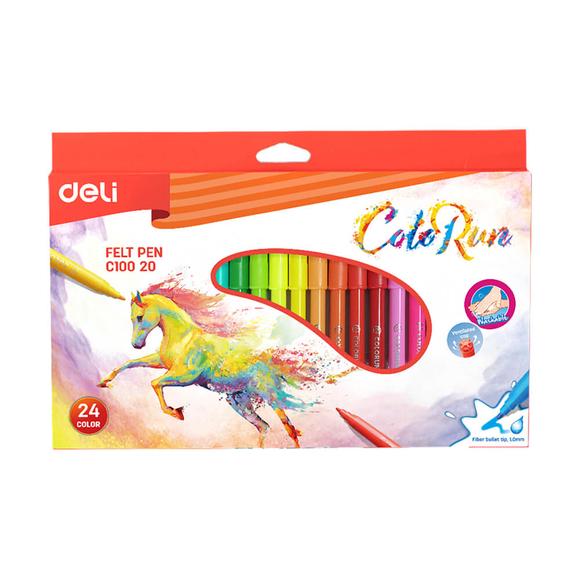 Deli Color Run Keçeli Kalem Karton Kutu 24'li C10020