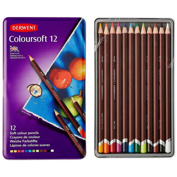 Derwent Coloursoft Kuru Boya Kalemi 12 Renk Teneke Kutu DW0701026