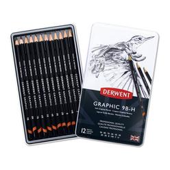 Derwent Graphic Soft Dereceli Kalem Seti 9B-H 12'li DW34202 - Thumbnail
