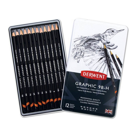 Derwent Graphic Soft Dereceli Kalem Seti 9B-H 12'li DW34202