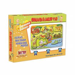 DiyToy Ormanda Kimler Var Tak Çıkar Kart Puzzle 9223 - Thumbnail