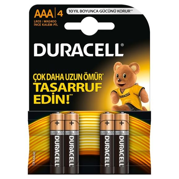 Duracell Alkaline İnce Kalem Pil AAA 4'lü