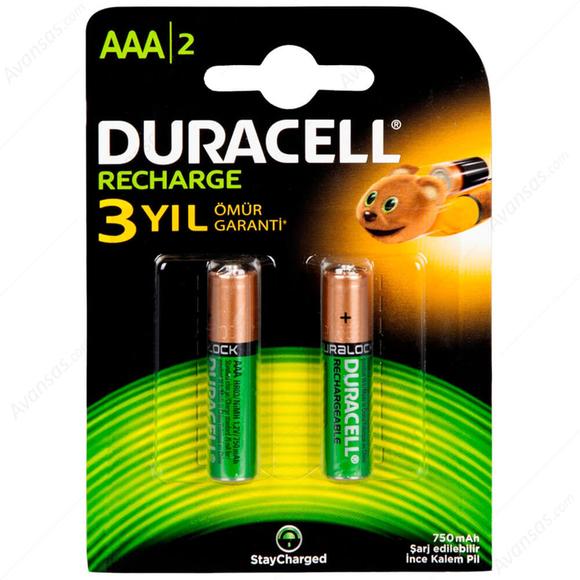 Duracell Şarjlı İnce Kalem Pil AAA 750 Mah 2'li
