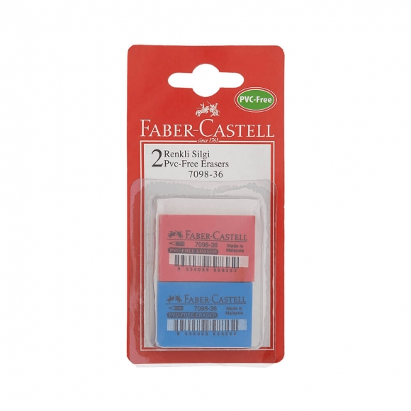 Faber-Castell 7098/36 PVC-Free Renkli Silgi 2 li Blister