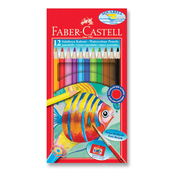 Faber Castell Aquarel Kuru Boya Kalemi Karton Kutu 12 Renk