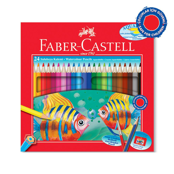 Faber Castell Aquarel Kuru Boya Kalemi Karton Kutu 24 Renk