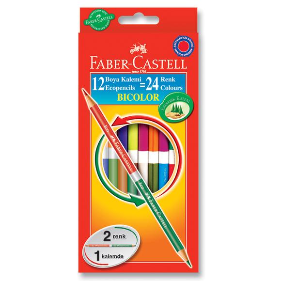 Faber Castell Bicolor Çift Taraflı Boya Kalemi 24 Renk